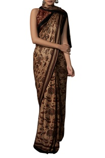 Hand block print Ranthambore inspired sari with unstitched blouse