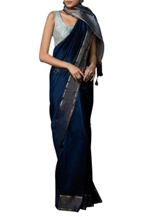Maheshwar inspired handwoven sari with unstitched blouse