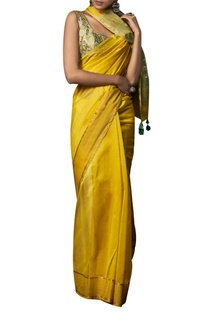 Handwoven Maheshwar inspired sari with unstitched blouse