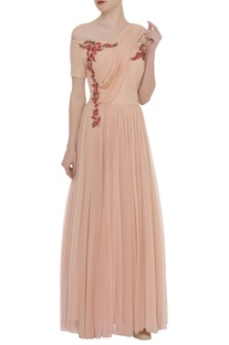 Cold Shoulder Embroidered Draped Gown
