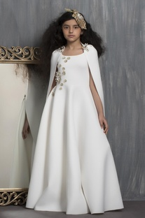 Pearl & Crystal Embellished Gown With Cape