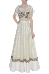 Ruffle Embroidered Blouse With Lehenga