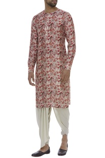 Floral printed kurta with button placket