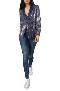 Sequin embroidered blazer jacket