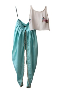 Cycle Thread Embroidered Top With Dhoti Pants