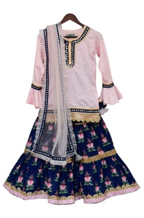Bell Sleeve Kurta With Sharara & Dupatta