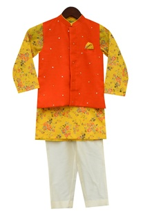 Floral Print Kurta With Bundi & Churidaar