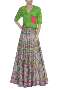 Floral Motifs Sequin Embroidered Skirt