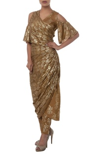 Cold shoulder Wrap Style Kurta With Pants