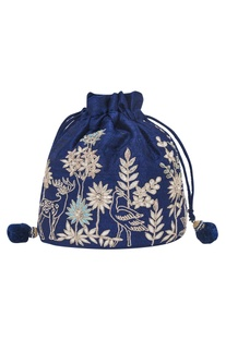 Navy Embroidered Potli bag