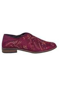 Embroidered Plum Silk Shoes