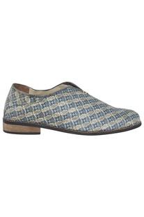 Floral printed Grey Silk Shoes