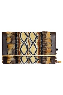 Feather & bead embroidered clutch