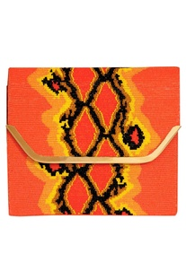 Embroidered flap clutch with metal chain