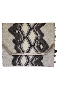 Glass bead embroidered clutch with metal chain