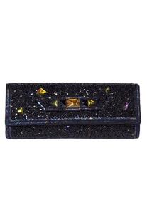 Bead embellished flap clutch