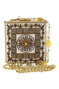 Embroidered clutch with bead embedded chain