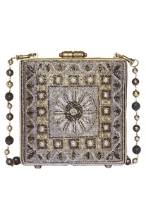 Embroidered bead chain clutch