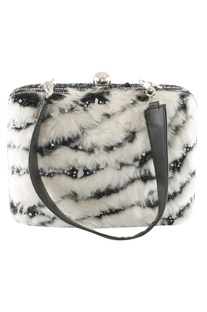 Faux Fur & Bead Embroidered Clutch