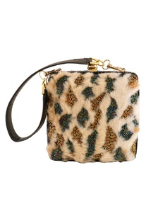 Faux Fur & Japanese Glass Beads Embroidered Clutch