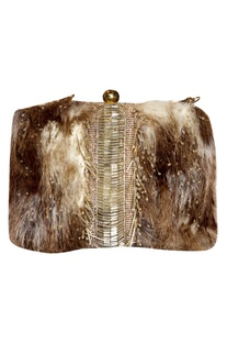 Japanese Glass Beads & faux Fur Clutch