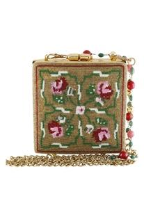 Japanese Beadwork Metal Clasp Box Clutch Cum Sling bag