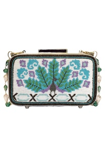 Japanese Beads Embroidered  Rectangular Clutch