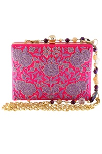 Floral Cutdana Embroidered Clutch