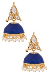 Enamelled Indian Archticture Inspired Jhumki Earrings