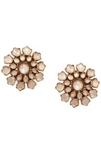 Crystal Studded Architecture Inspired Floral Earrings