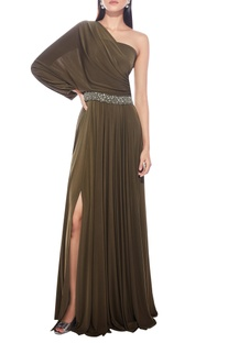 One shoulder gown with belt