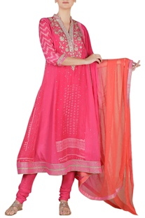 Printed & embroidered anarkali kurta set
