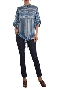 Flared Sleeves Front Knot Shirt