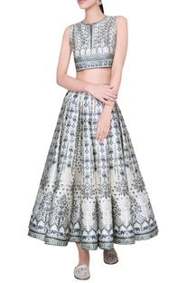 Printed pleated lehenga with blouse