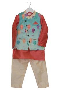 Kite Print Jacket With Kurta & Pyjama