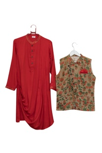 Floral Angrakha Jacket With Kurta & Pyjama