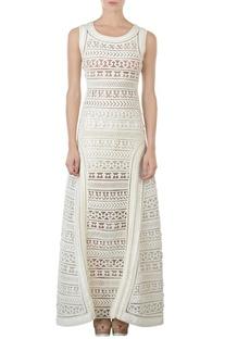 Ivory motif applique maxi dress