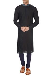 Black and blue ombre sherwani set