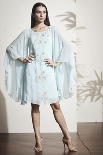 Sky blue floral embroidered kaftan