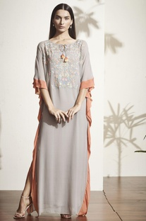 Grey floral embroidered kaftan