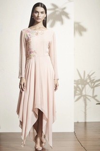 Peach floral applique asymmetric dress