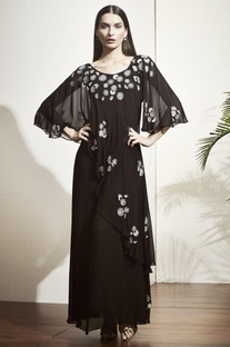 Black embellished gown with flared sleeves