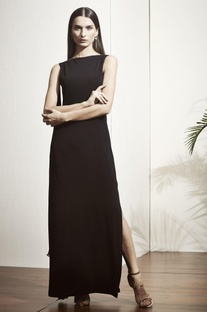 Black sleeveless gown with embellished back