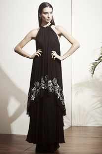 Black tiered style gown