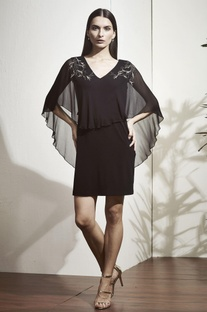 Black embroidered tunic with flared sleeves