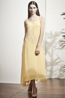 Yellow thread work embroidered tunic