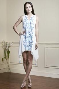 White asymmetric style tunic