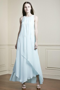 Sky blue layered gown