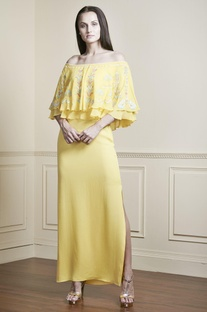 Yellow Bardot off-shoulder gown