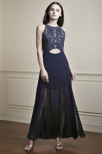 Navy blue multi-layered gown